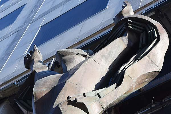 Detail of sculpture installed