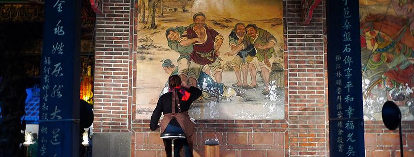 Mural, Dalongdong Baoan Temple, Taipei City, Taiwan, photo: Dalongdong Baoan Temple