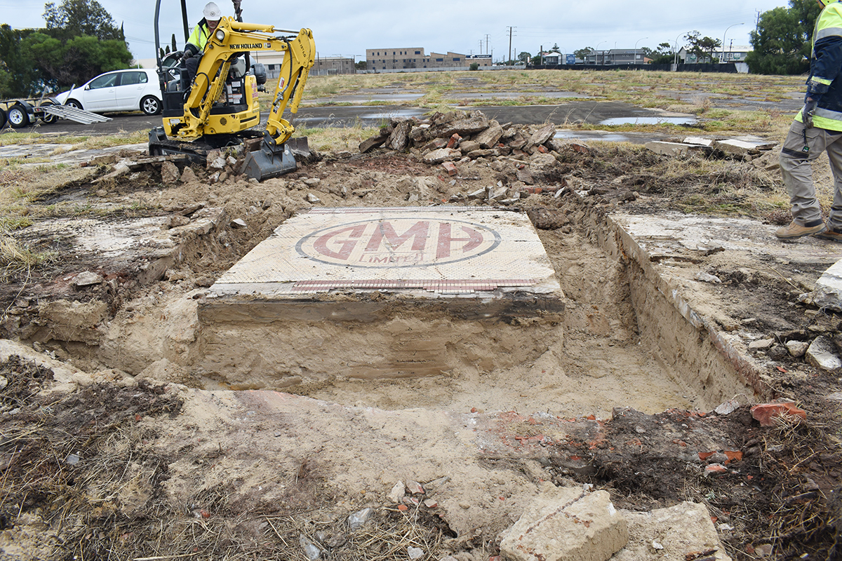 Photo of GM Holden Mosaic being excavated.