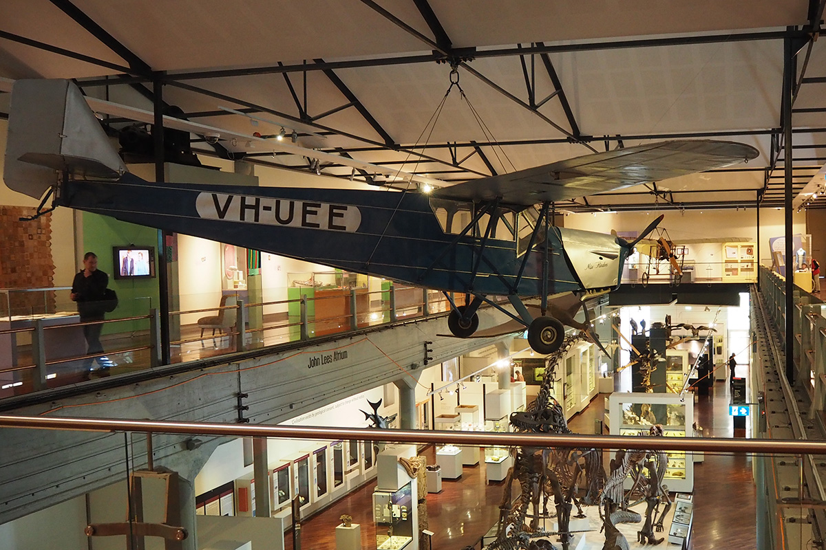 Aircraft Miss Flinders hanging from roof of museum
