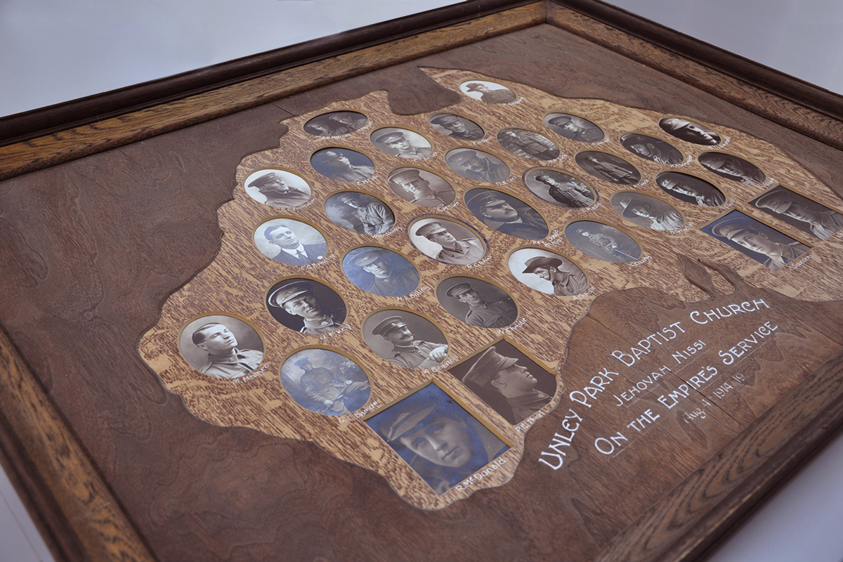 WW1 Honour Board before conservation treatment