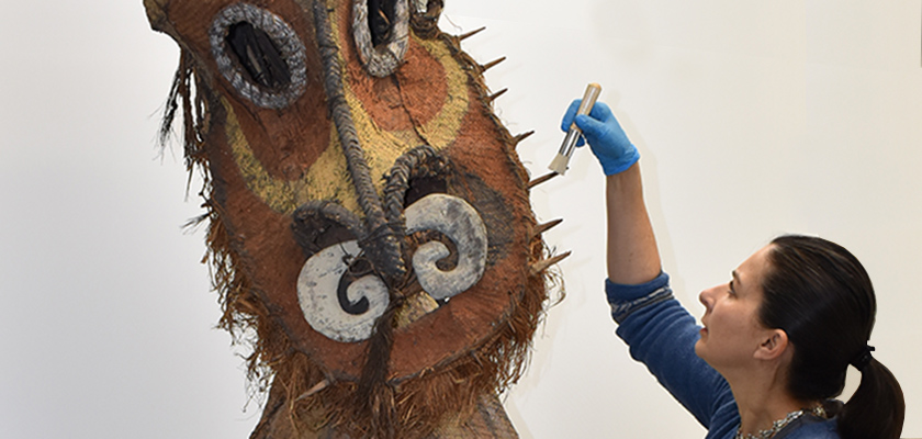 Conservator cleaning mask from Papua New Guinea
