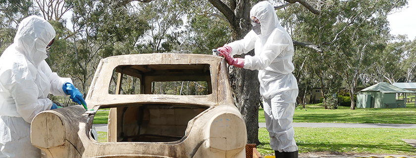 Artlab conservators treating heritage car from National Motor Museum