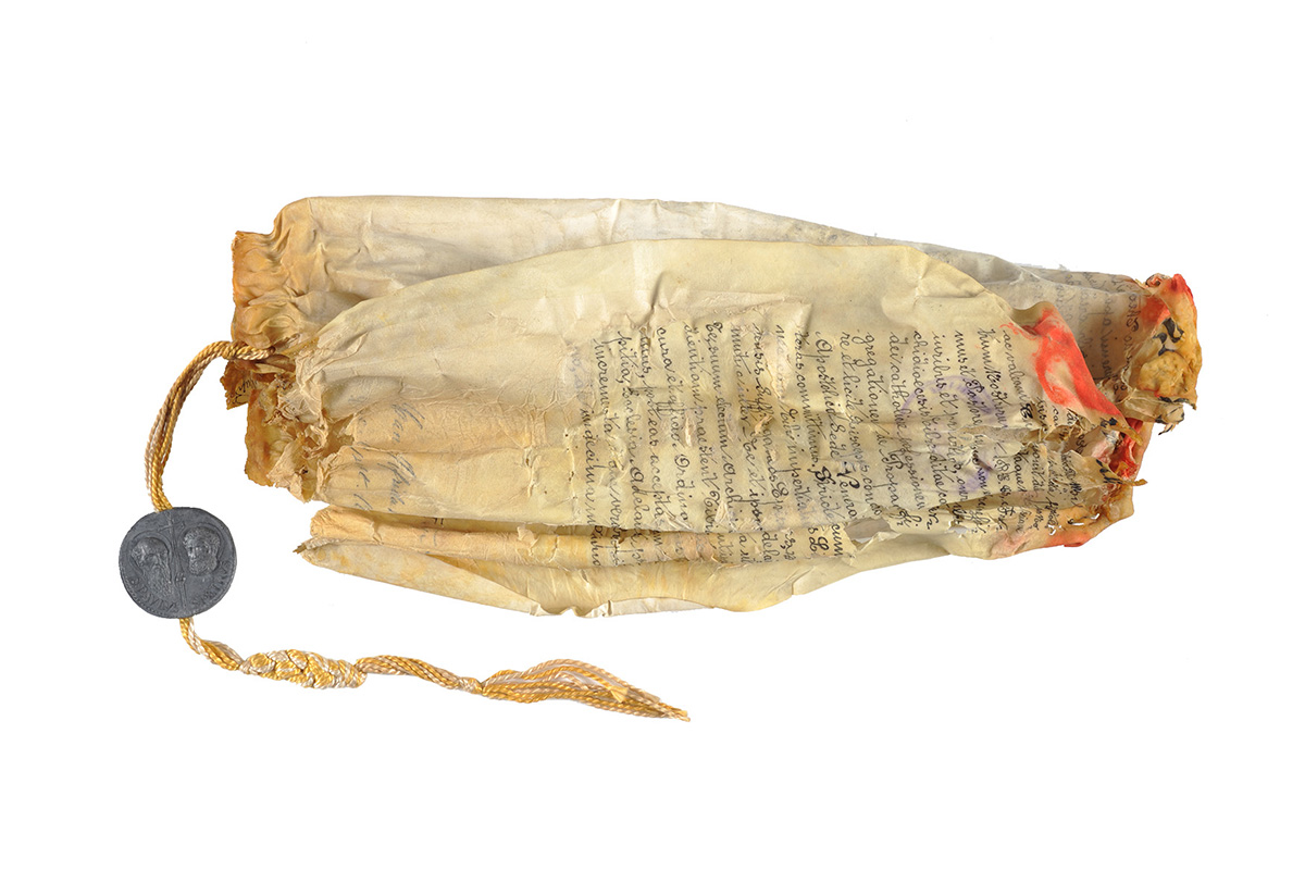 Photo of parchment before conservation treatment
