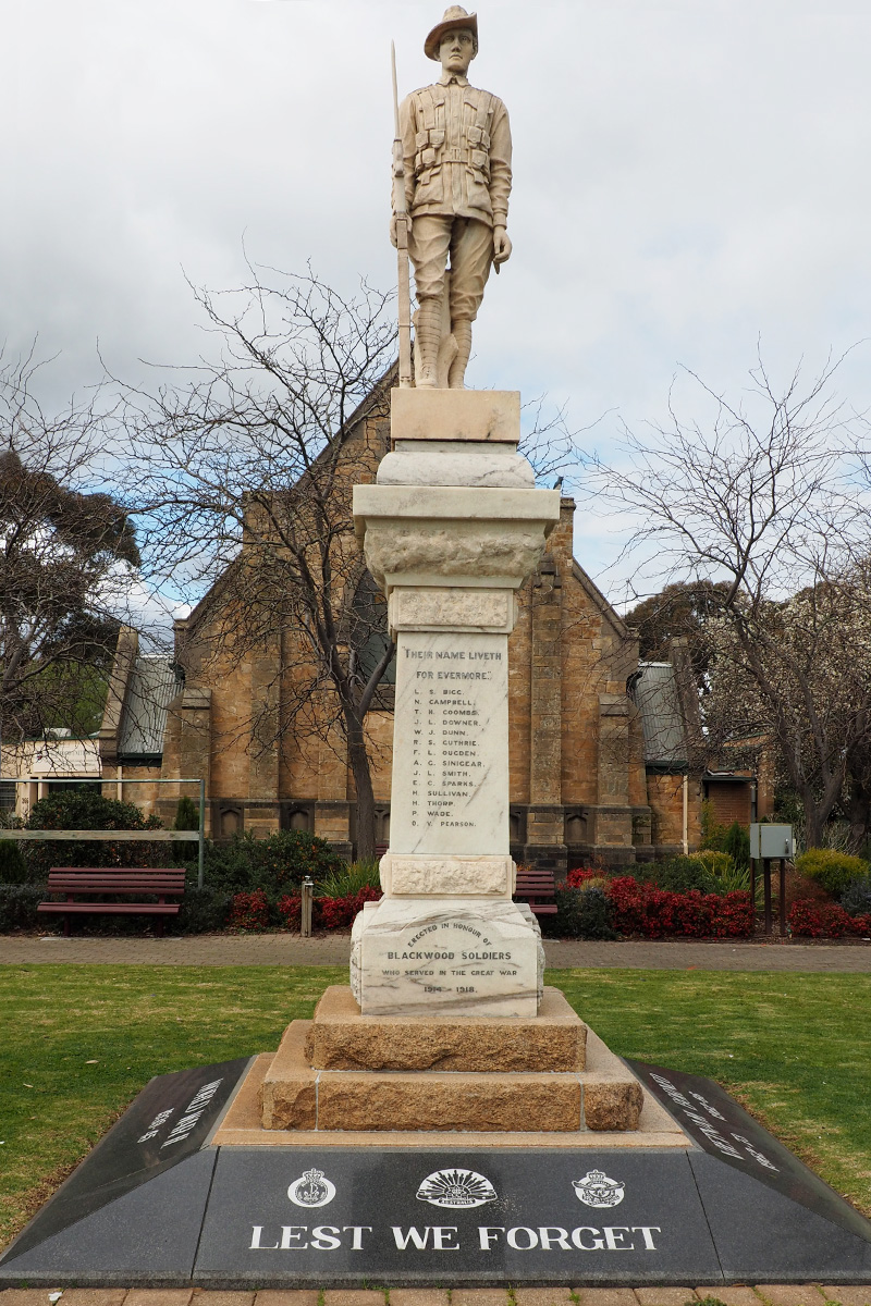 Blackwood Soldiers War Memorial before treatment