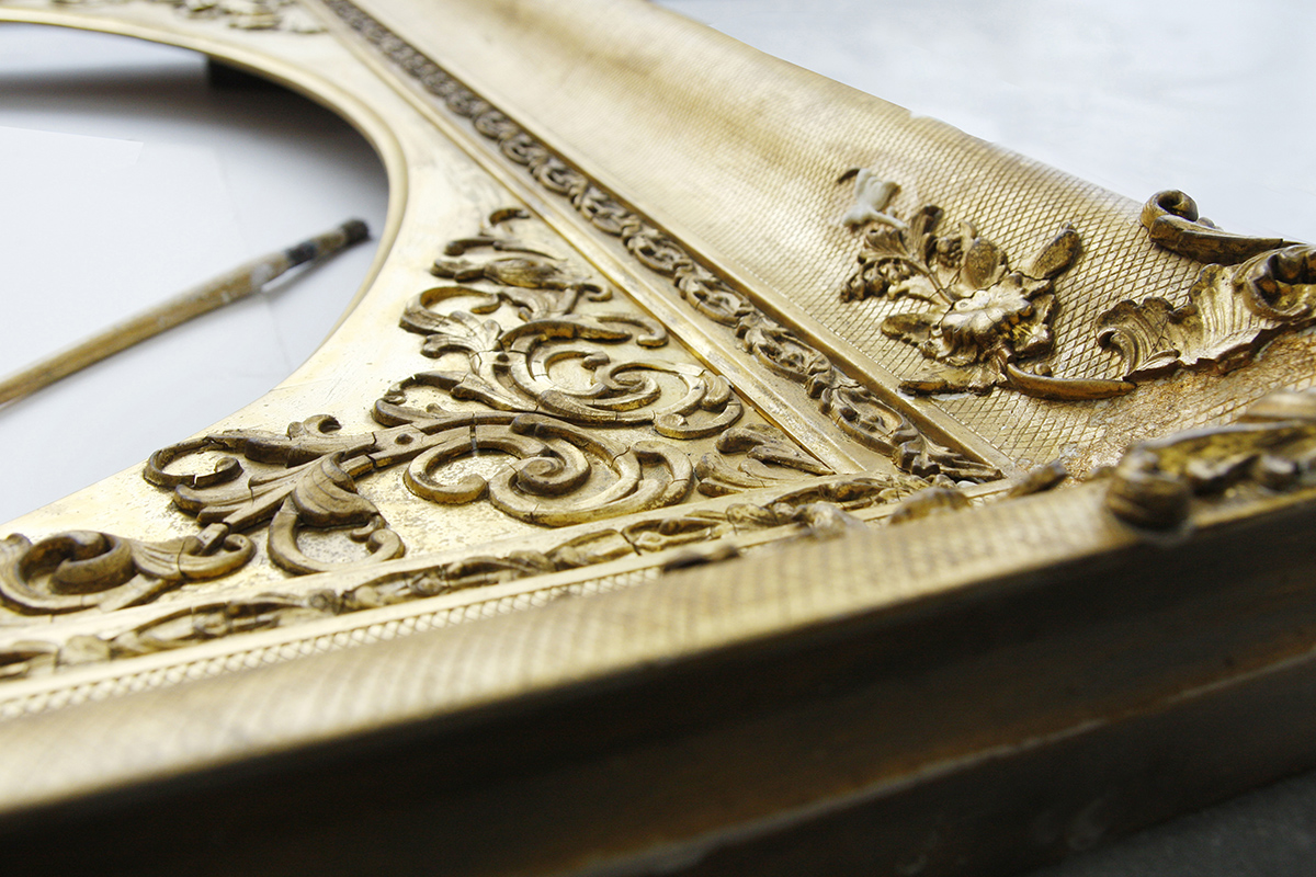 Frame detail with paintbrush