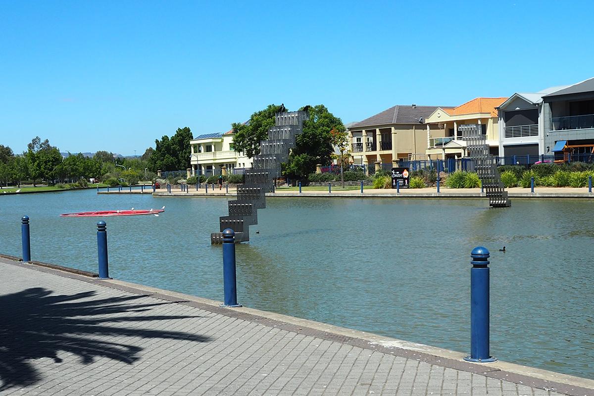 Sculpture in a lake