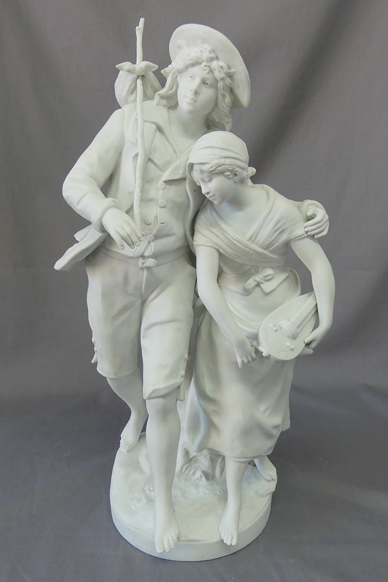 French Parian statuette after treatment with new replacement parts