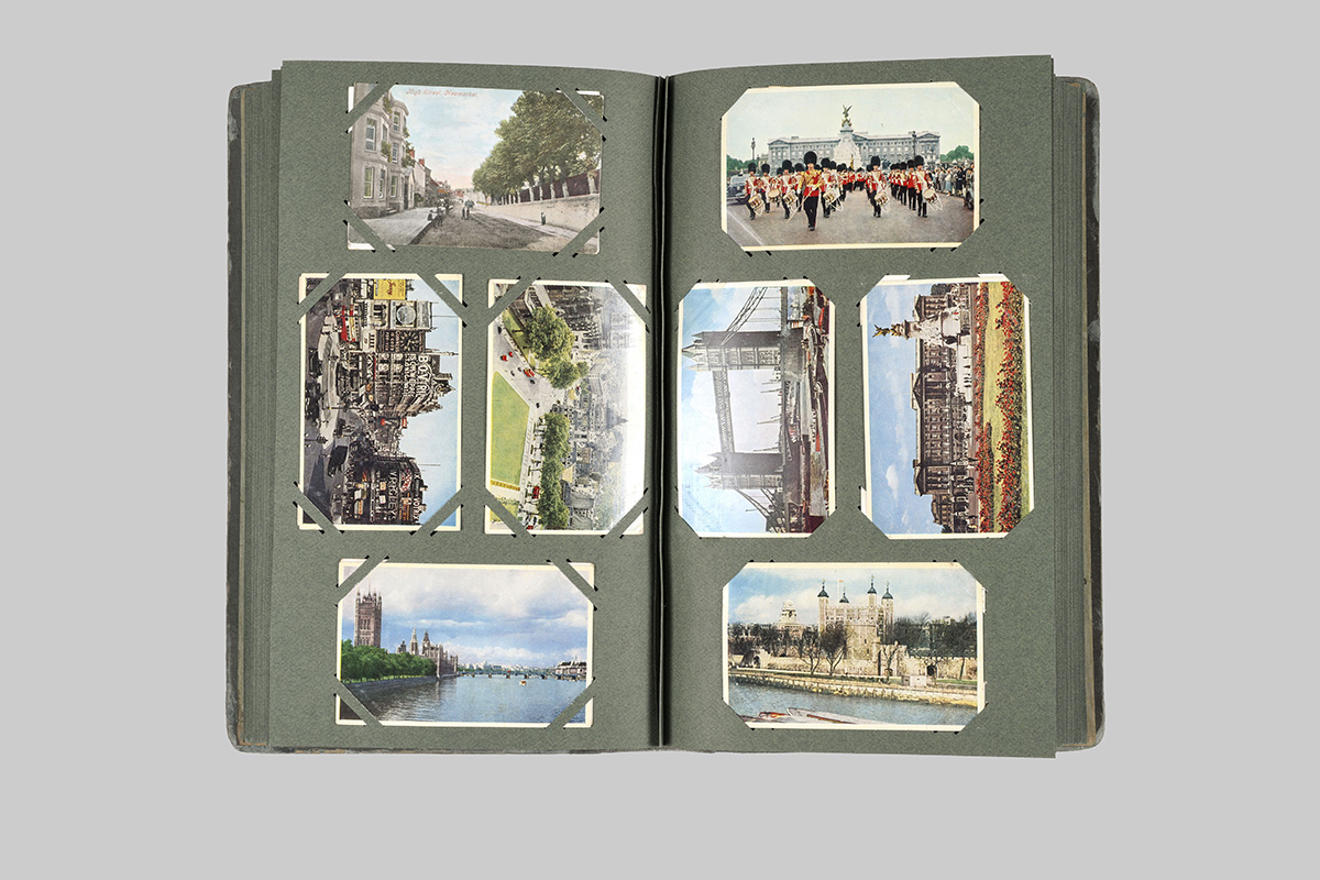Pages of postcard album after treatment